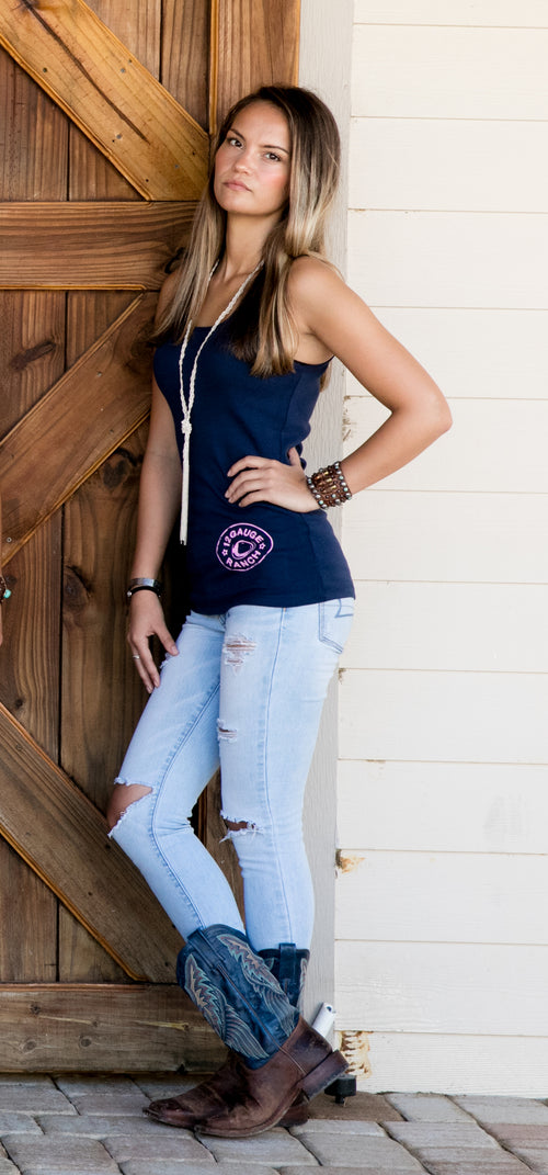 12 Gauge Ranch Women's Navy Tank Top With Pink Logo (TKWNY102), Accessories, 12 Gauge Ranch, 12 Gauge Ranch 12 Gauge Ranch