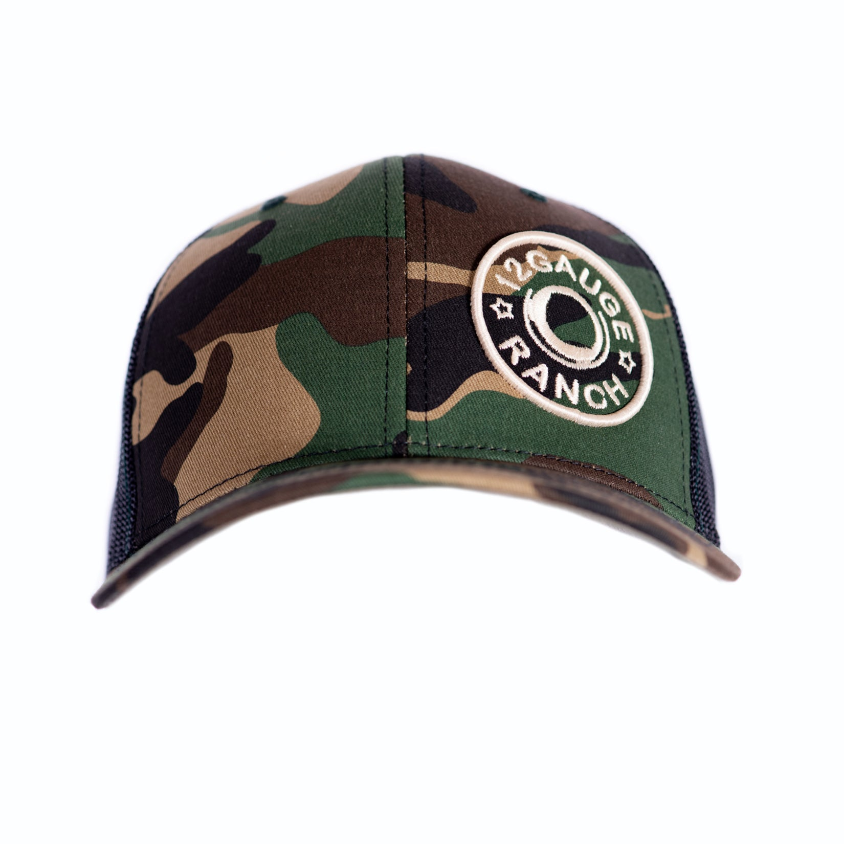 Camo and Black 12 Gauge Bullet Logo Trucker Baseball Cap, Hats, 12 Gauge Ranch, 12 Gauge Ranch 12 Gauge Ranch