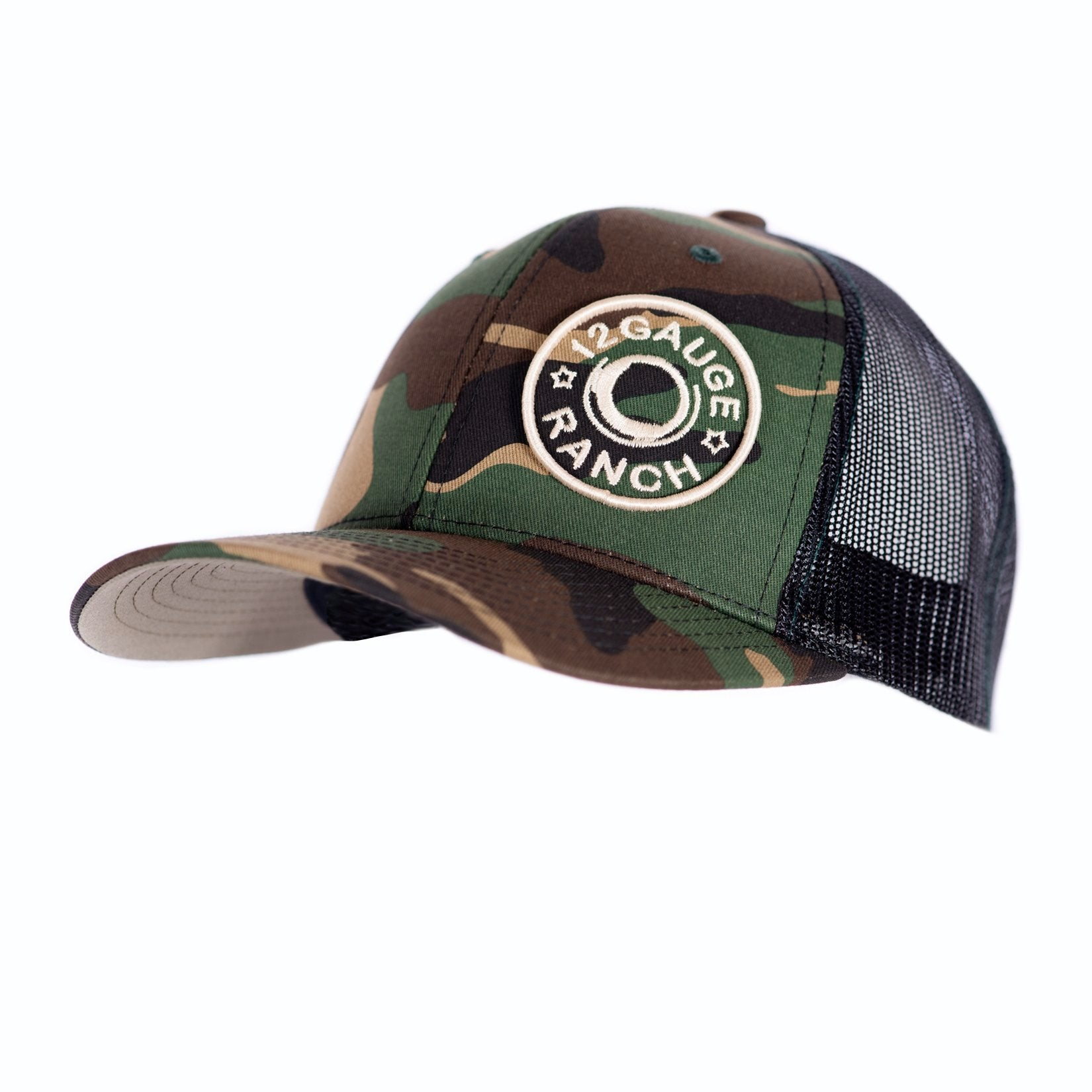 a8a199786f80f Camo and Black 12 Gauge Bullet Logo Trucker Baseball Cap – 12 Gauge ...