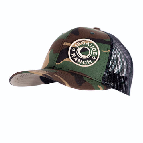 Camo and Black 12 Gauge Bullet Logo Trucker Baseball Cap, Hats, 12 Gauge Ranch, 12 Gauge Ranch Ranch  12 Gauge Ranch