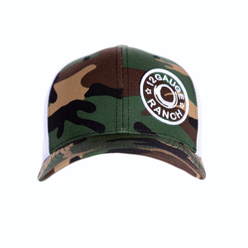 Camo and White 12 Gauge Bullet Logo Baseball Hat, Hats, 12 Gauge Ranch, 12 Gauge Ranch Ranch  12 Gauge Ranch