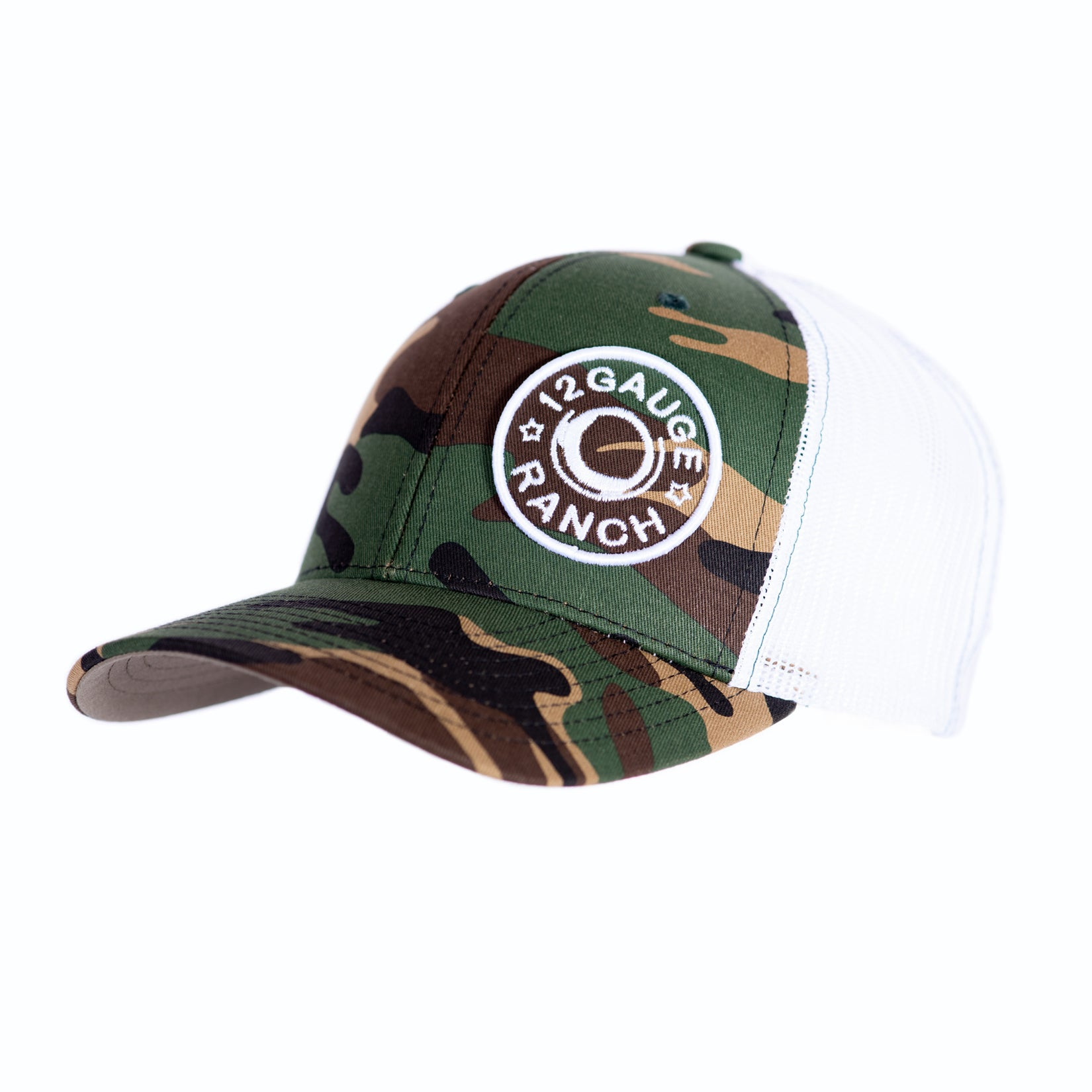 Camo and White 12 Gauge Bullet Logo Baseball Hat, Hats, 12 Gauge Ranch, 12 Gauge Ranch 12 Gauge Ranch