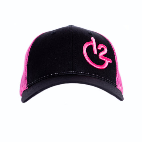 Black and Neon Pink 12 Gauge Low Profile Baseball Hat, Hats, 12 Gauge Ranch, 12 Gauge Ranch 12 Gauge Ranch