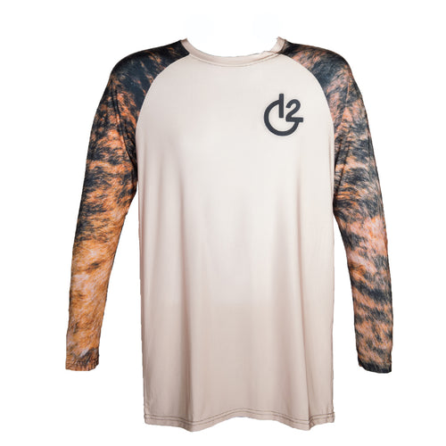Tan Cowhide Print Long Sleeve Performance Shirt, Apparel, 12 Gauge Ranch, 12 Gauge Ranch Ranch  12 Gauge Ranch