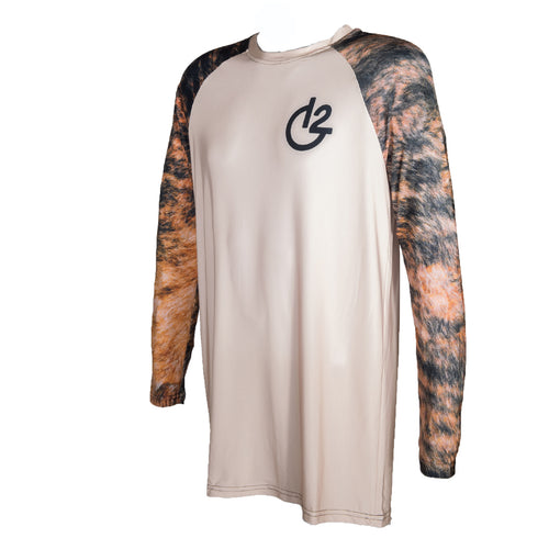 Tan Cowhide Print Long Sleeve Performance Shirt, Apparel, 12 Gauge Ranch, 12 Gauge Ranch 12 Gauge Ranch