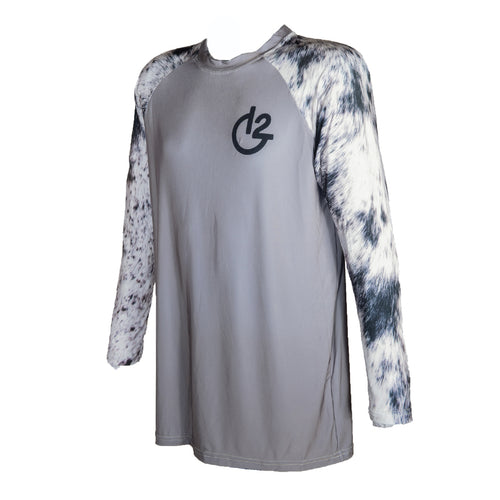 Grey Cowhide Print Long Sleeve Performance Shirt, Apparel, 12 Gauge Ranch, 12 Gauge Ranch Ranch  12 Gauge Ranch