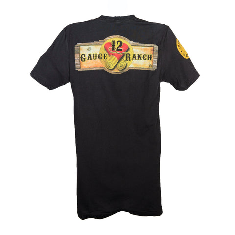12 Gauge Ranch Black with Camo Short Sleeve T-Shirt