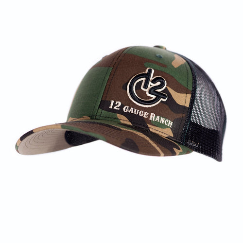 Camo and Black 12 Gauge Trucker Baseball Hat, Hats, 12 Gauge Ranch, 12 Gauge Ranch 12 Gauge Ranch