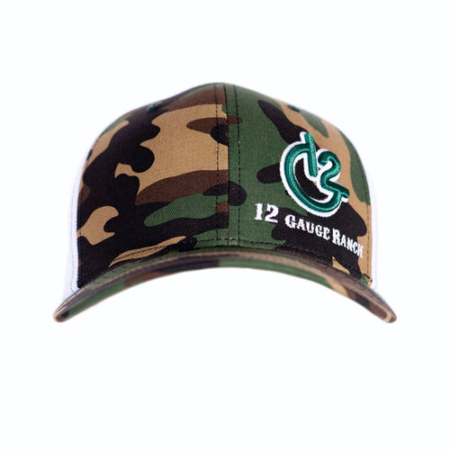 Camo and White 12 Gauge Trucker Baseball Hat, Hats, 12 Gauge Ranch, 12 Gauge Ranch Ranch  12 Gauge Ranch