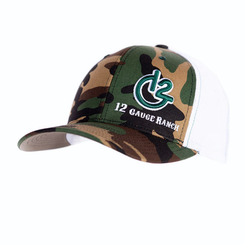 Camo and White 12 Gauge Trucker Baseball Hat, Hats, 12 Gauge Ranch, 12 Gauge Ranch 12 Gauge Ranch