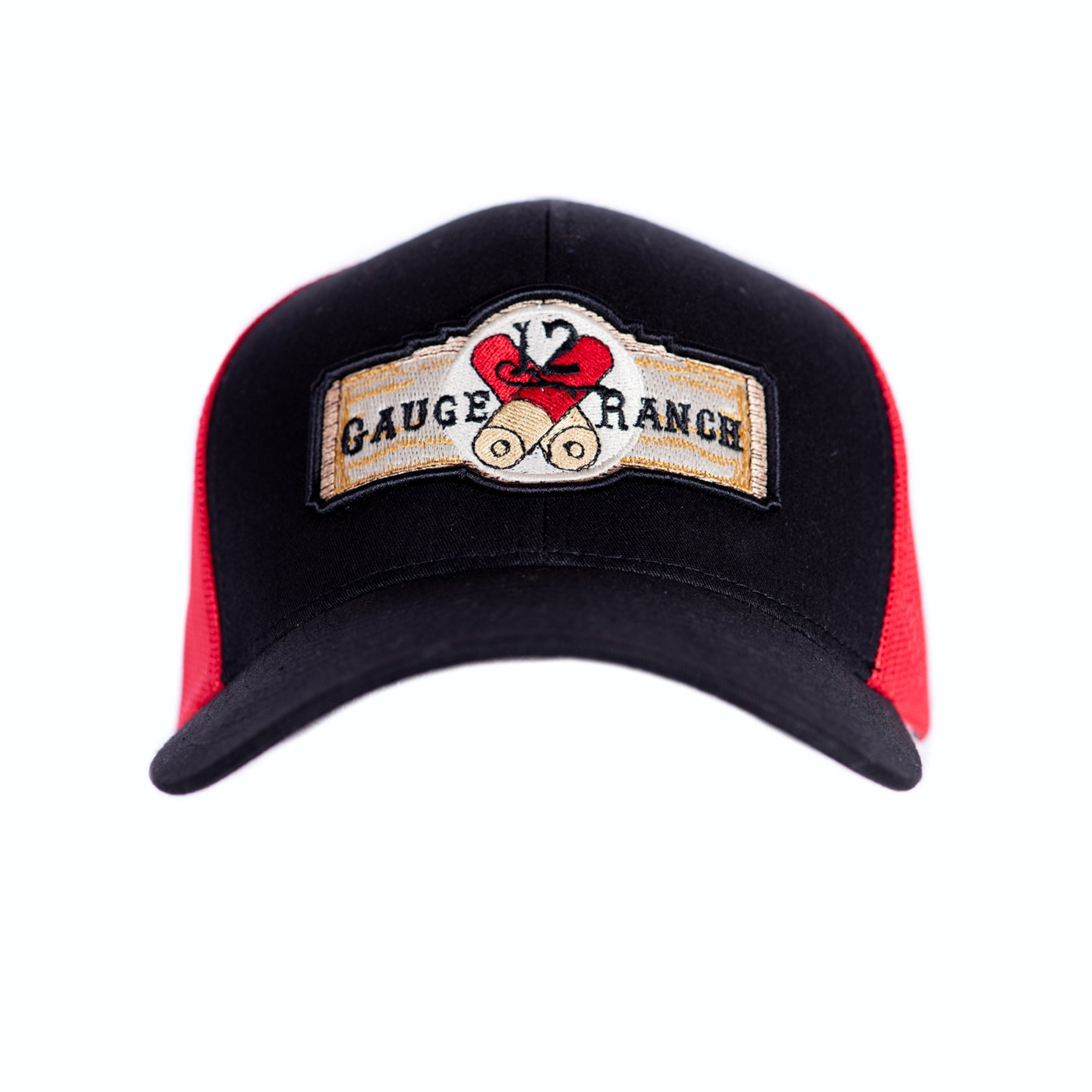 12 Gauge Ranch Baseball Hat Black and Red (BBH104RB)