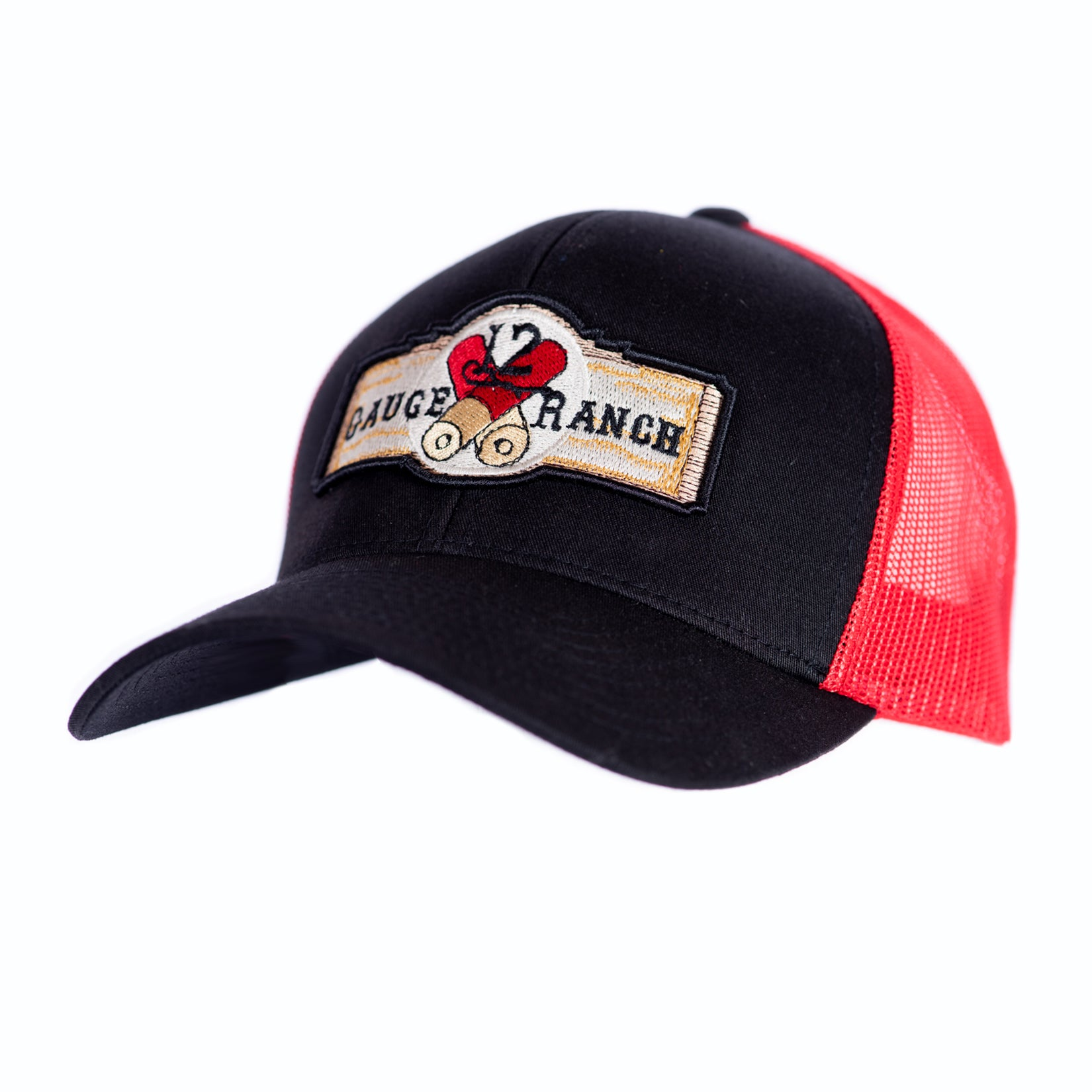 12 Gauge Ranch Baseball Hat Black and Red (BBH104RB), Hats, 12 Gauge Ranch, 12 Gauge Ranch 12 Gauge Ranch