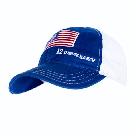12 Gauge Ranch Patriotic Structured Navy Blue, Red and White Baseball Hat (BBH112US)