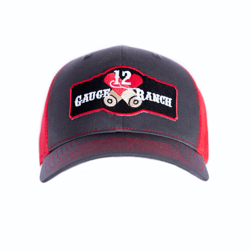 Charcoal and Red 12 Gauge Ranch Baseball Hat (BBH112GR), Hats, 12 Gauge Ranch, 12 Gauge Ranch 12 Gauge Ranch