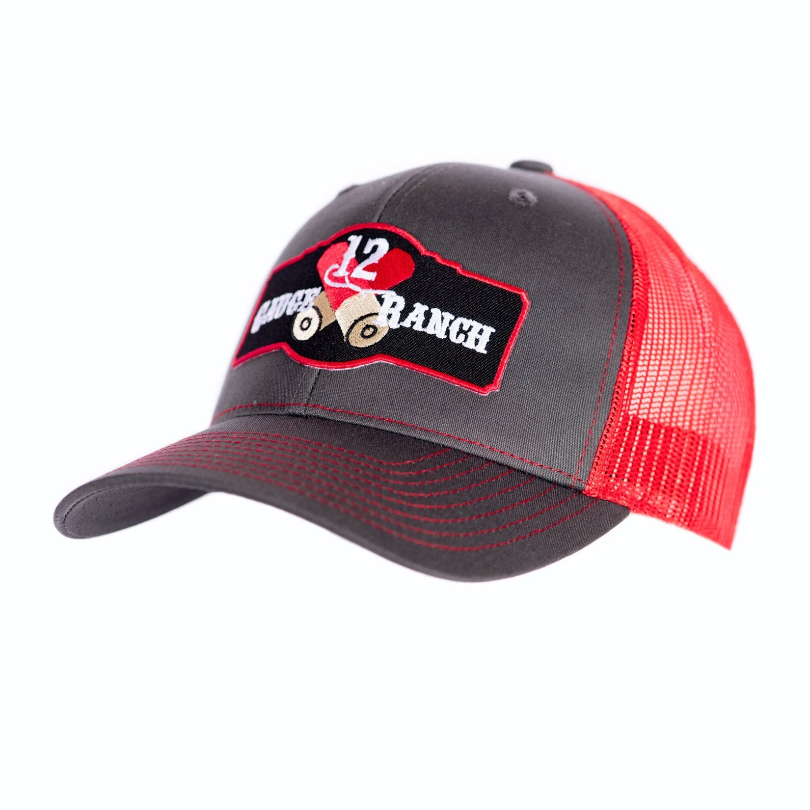 Charcoal and Red 12 Gauge Ranch Baseball Hat (BBH112GR), Hats, 12 Gauge Ranch, 12 Gauge Ranch Ranch  12 Gauge Ranch
