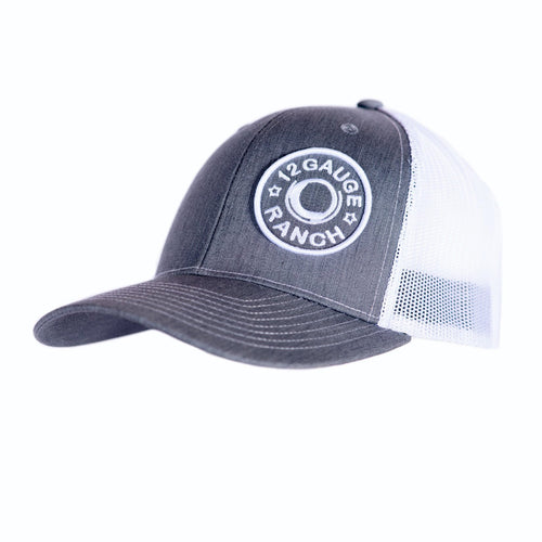 Heather Grey and White 12 Gauge Ranch Baseball Hat (BBH112GW), Hats, 12 Gauge Ranch, 12 Gauge Ranch 12 Gauge Ranch