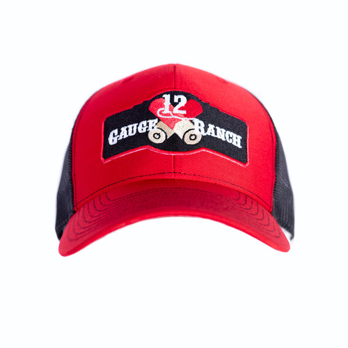 Red and Black 12 Gauge Ranch Baseball Cap (BBH112RB), Hats, 12 Gauge Ranch, 12 Gauge Ranch 12 Gauge Ranch