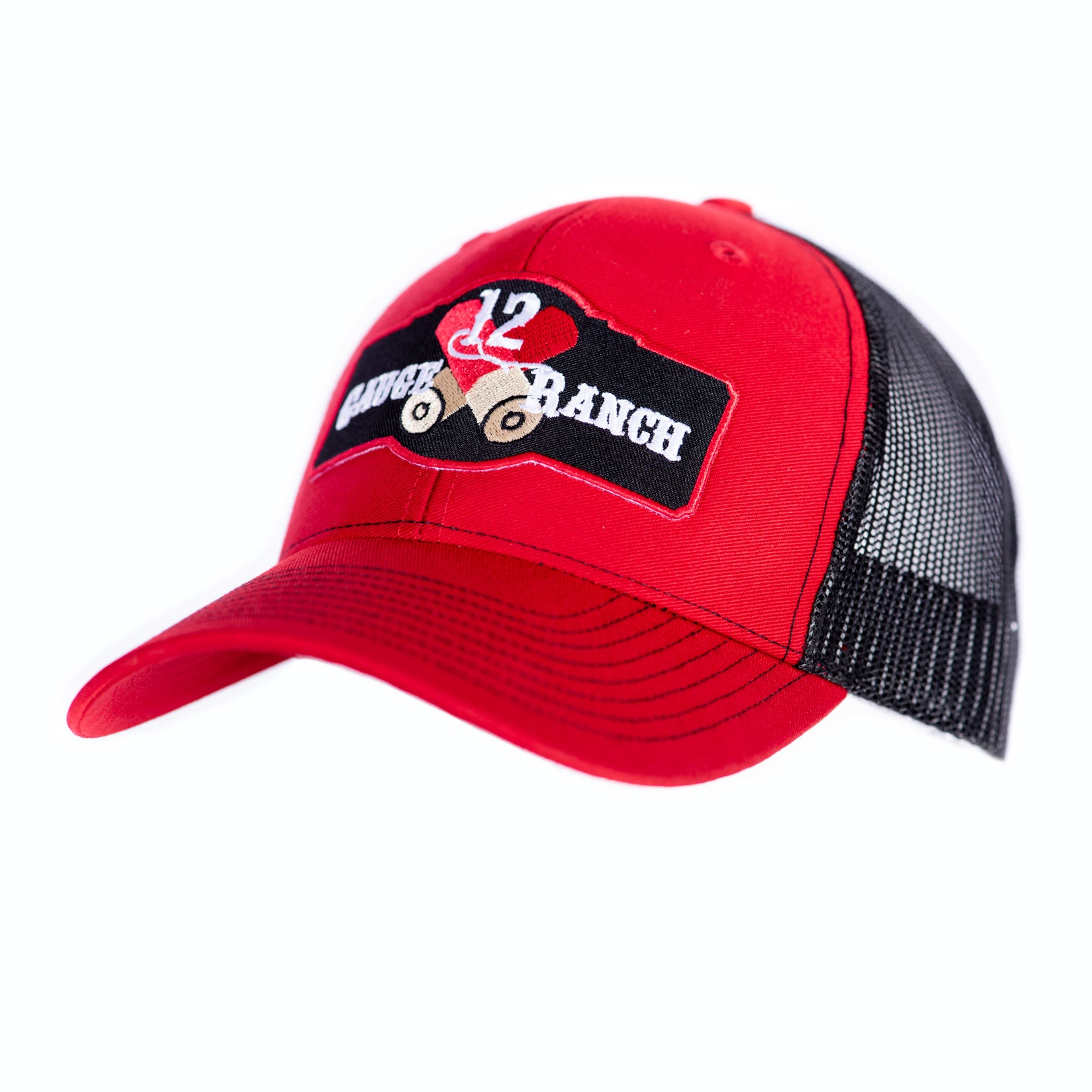 Red and Black 12 Gauge Ranch Baseball Cap (BBH112RB), Hats, 12 Gauge Ranch, 12 Gauge Ranch Ranch  12 Gauge Ranch