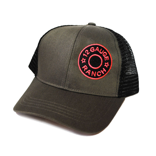 12 Gauge Ranch Pink Logo Black & Charcoal Baseball Cap (BBPBBC1), Hats, 12 Gauge Ranch, 12 Gauge Ranch 12 Gauge Ranch