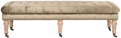 Barney Tufted  Bench - Brass Nail Heads