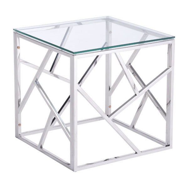 CAGE SIDE TABLE POLISHED SS