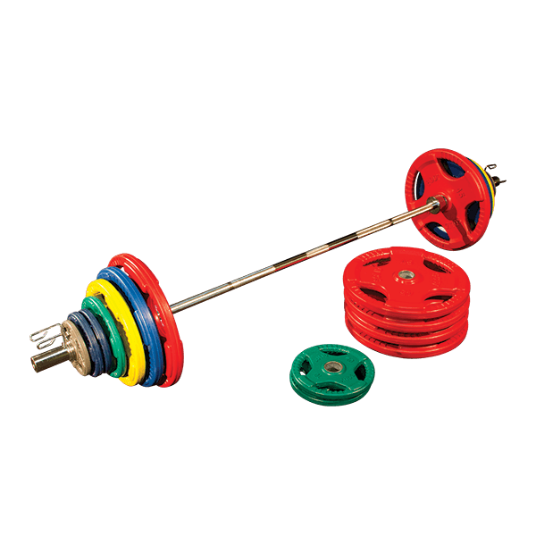500 lb. Colored Rubber Grip Olympic Plate Set