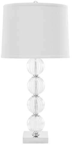 AMANDA 31-INCH H WHITE CRYSTAL GLASS GLOBE LAMP