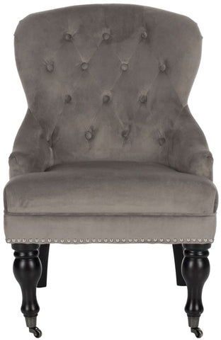 Falcon Tufted Arm Chair W/ Silver Nail Heads