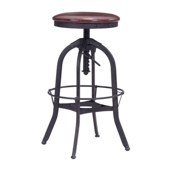 CRETE BARSTOOL BURGUNDY & ANTIQUE BLK