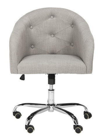 Amy Tufted Linen Chrome Leg Swivel Office Chair