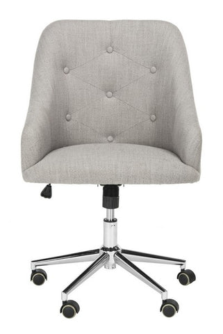 Evelynn Tufted Linen Chrome Leg Swivel Office Chair