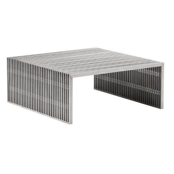 NOVEL SQUARE COFFEE TABLE BRUSHED SS