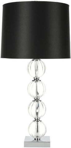 AMANDA 31-INCH H BLACK CRYSTAL GLASS GLOBE LAMP