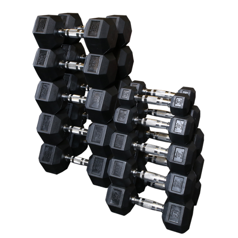 5 to 50 Lb. Rubber Dumbbell Set