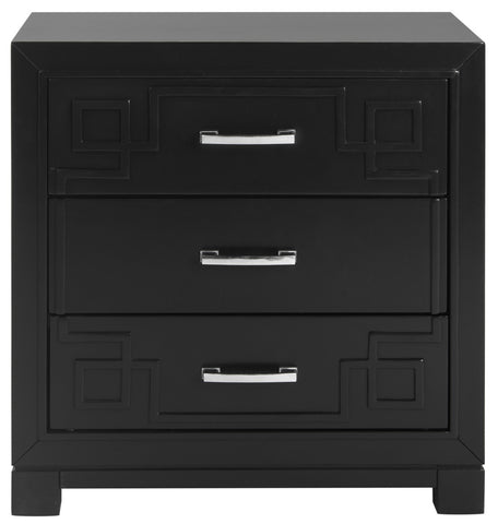 Raina Three Drawer Greek Key Night Stand