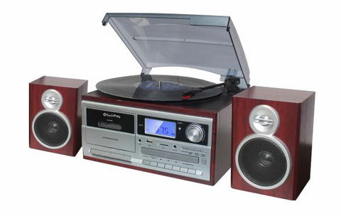 Techplay Odc128bt 3-speed Turntable With Cassette Player-recorde