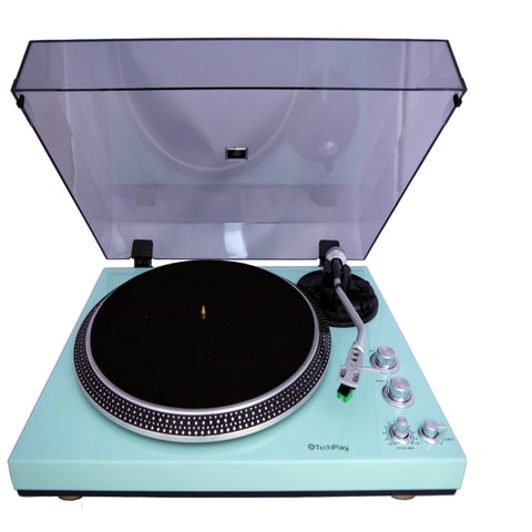 Techplay TCP4530 TURquoise Analog Turntable With Built-in Phono