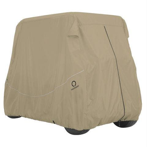 Classic Fairway Golf Cart Quick-Fit Cover Long Roof - Khaki