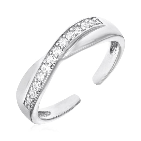 Toe Ring with Crossover Motif in Sterling Silver with Cubic Zirconia