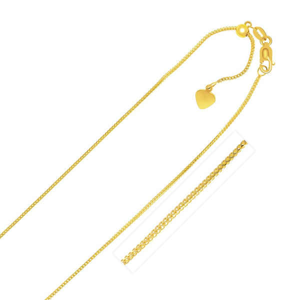 0.9mm 14K Yellow Gold Adjustable Franco Chain