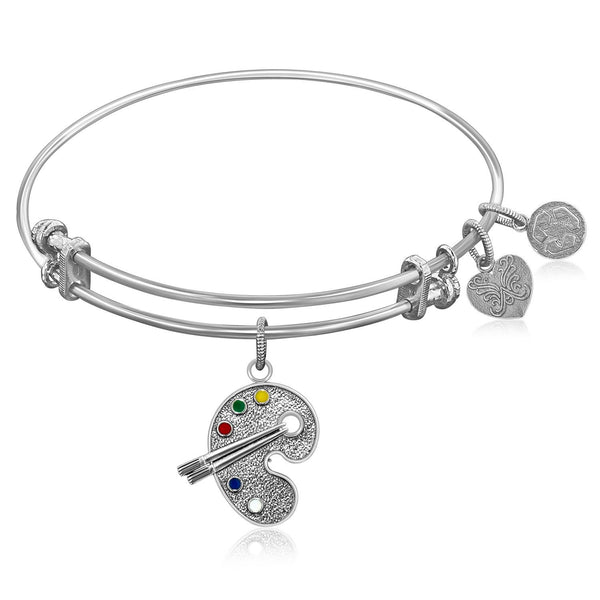 Expandable Bangle in White Tone Brass with Painter's Easel Symbol