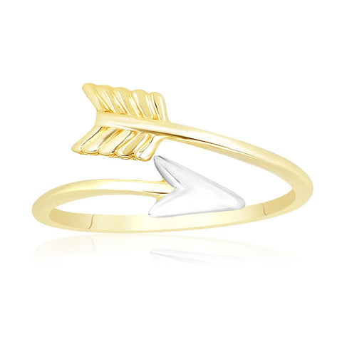 14K Two-Tone Gold Open Arrow Style Ring