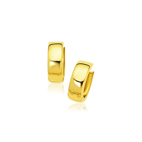 14K Yellow Gold Snuggable Hoop Earrings