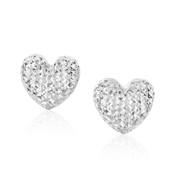 14K White Gold Puffed Heart Earrings with Diamond Cuts