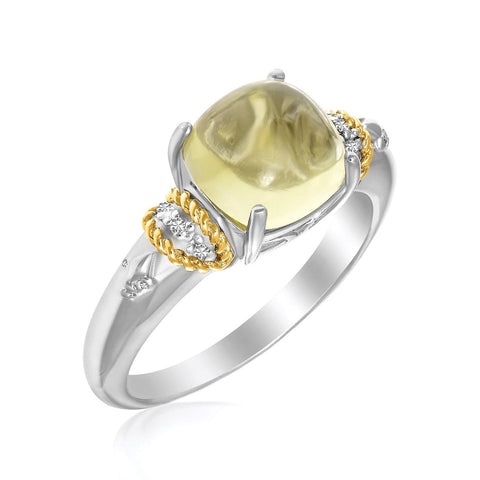18K Yellow Gold & Sterling Silver Claw Set Square Lemon Quartz and Diamond Ring