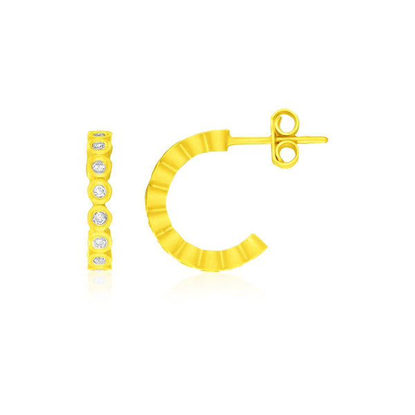 14K Yellow Gold Half Hoop Circle Link Earrings with Diamonds