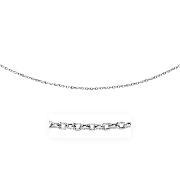 3.5mm 14K White Gold Pendant Chain with Textured Links