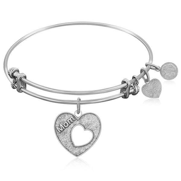 Expandable Bangle in White Tone Brass with Mother's Special Love Symbol