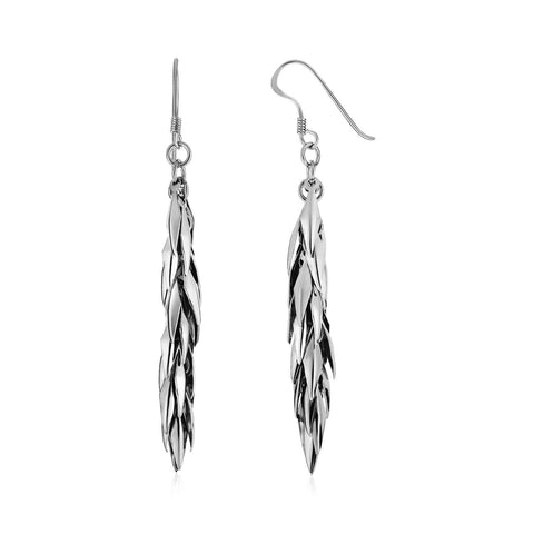Hanging Leaf Motif Drop Earrings in Sterling Silver