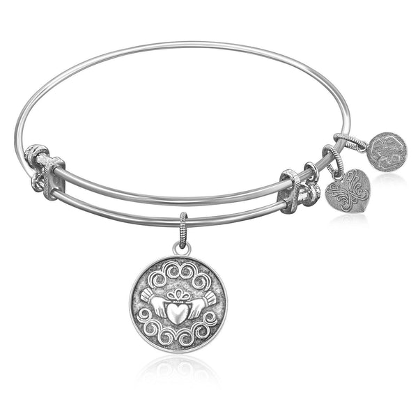 Expandable Bangle in White Tone Brass with Claddagh Love And Friendship Symbol